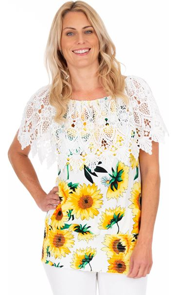 Sunflower Print And Lace Top Yellow/White