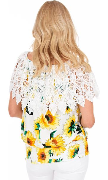 Sunflower Print And Lace Top Yellow/White - Gallery Image 2