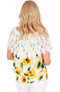 Sunflower Print And Lace Top
