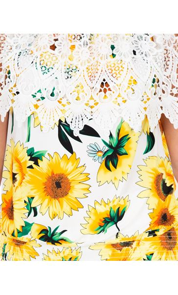 Sunflower Print And Lace Top Yellow/White - Gallery Image 3