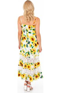 Sleeveless Sunflower Printed Maxi Dress