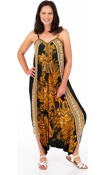 Printed Strappy Harem Jumpsuit Khaki/Mustard - Gallery Image 1