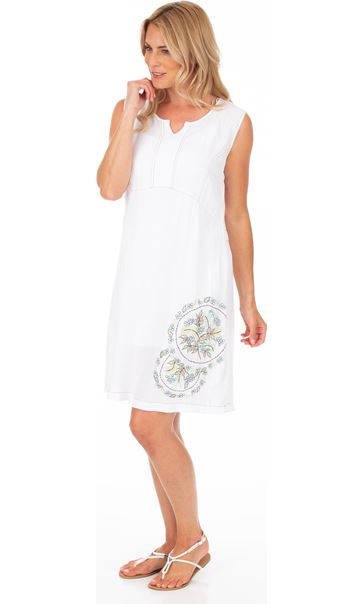 Embroidered Sleeveless Tunic White - Gallery Image 1