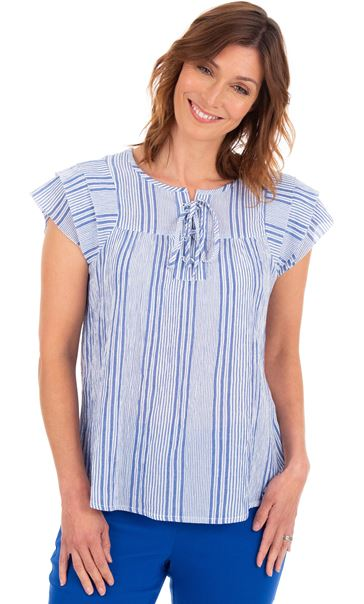 Crinkle Cotton Striped Top Blue