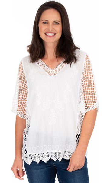 Crochet Trimmed Loose Fit Cotton Top White