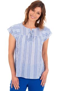 Crinkle Cotton Striped Top