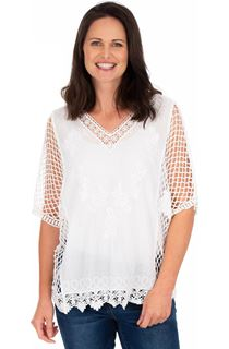 Crochet Trimmed Loose Fit Cotton Top