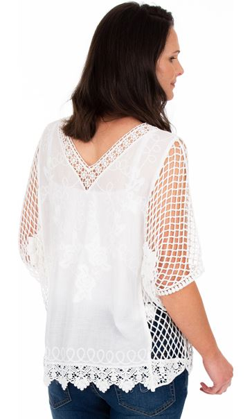 Crochet Trimmed Loose Fit Cotton Top White - Gallery Image 2