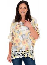Sunflower Printed Crochet Trim Top