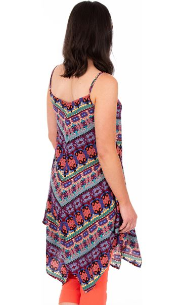 Strappy Printed Top Blue/Pink - Gallery Image 2