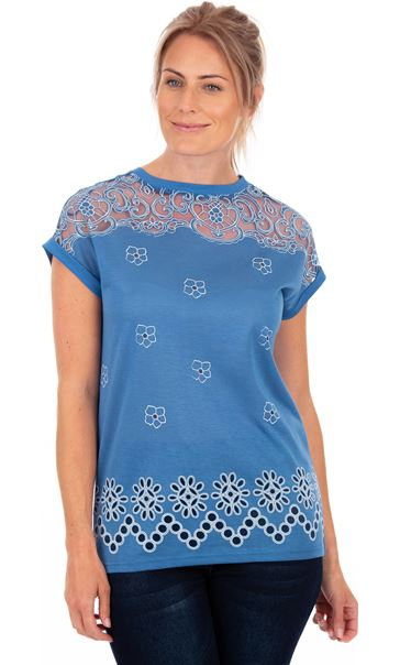 Embroidered Short Sleeve Jersey Top Blue