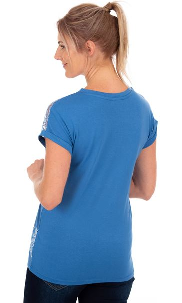 Embroidered Short Sleeve Jersey Top Blue - Gallery Image 2