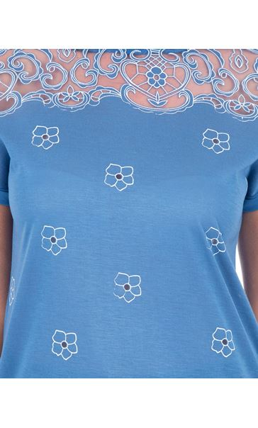 Embroidered Short Sleeve Jersey Top Blue - Gallery Image 3