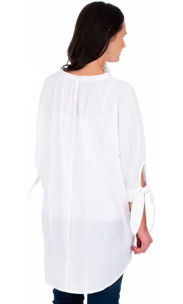 Oversized Tie Sleeve Blouse White - Gallery Image 2