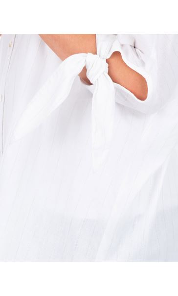Oversized Tie Sleeve Blouse White - Gallery Image 3