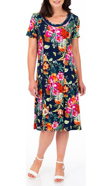 Anna Rose Printed Panelled Jersey Dress Navy/Multi