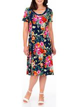 Anna Rose Printed Panelled Jersey Dress Navy/Multi - Gallery Image 1
