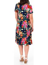 Anna Rose Printed Panelled Jersey Dress Navy/Multi - Gallery Image 2