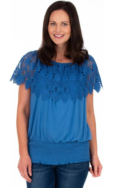 Lace Trim Jersey Top Wedgewood Blue