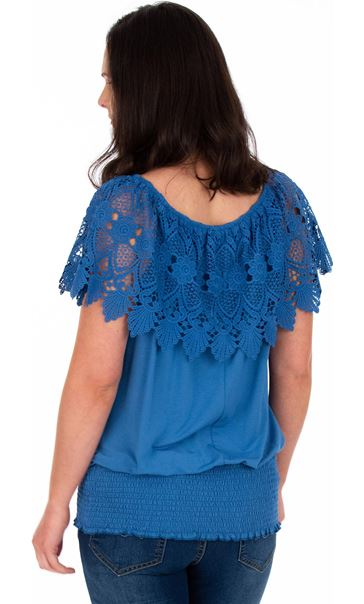Lace Trim Jersey Top Wedgewood Blue - Gallery Image 2