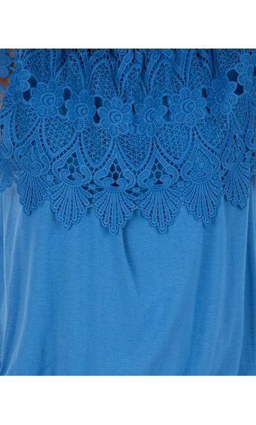 Lace Trim Jersey Top Wedgewood Blue - Gallery Image 3