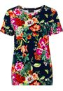 Anna Rose Floral Printed Short Sleeve Top Navy/Multi - Gallery Image 1