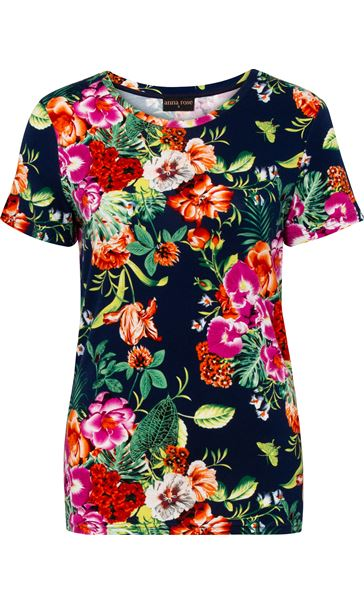 Anna Rose Floral Printed Short Sleeve Top Navy/Multi
