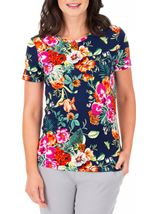 Anna Rose Floral Printed Short Sleeve Top Navy/Multi - Gallery Image 2