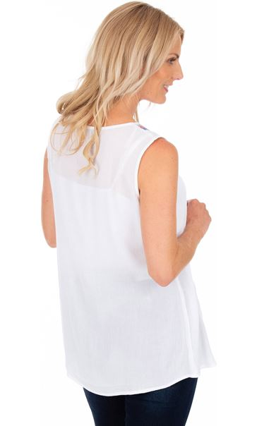 Embroidered Sleeveless Top White - Gallery Image 2