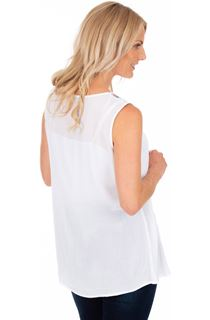 Embroidered Sleeveless Top - White