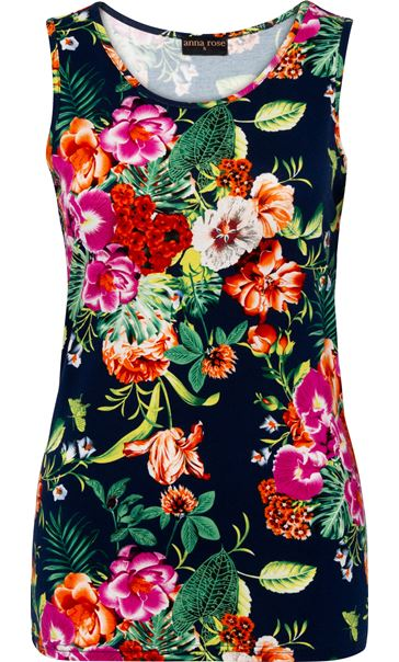 Anna Rose Floral Printed Sleeveless Top Navy/Multi