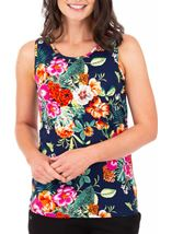 Anna Rose Floral Printed Sleeveless Top Navy/Multi - Gallery Image 2