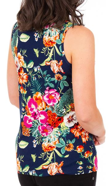 Anna Rose Floral Printed Sleeveless Top Navy/Multi - Gallery Image 3
