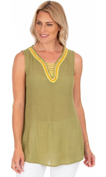 Embroidered Sleeveless Top Olive/Yellow