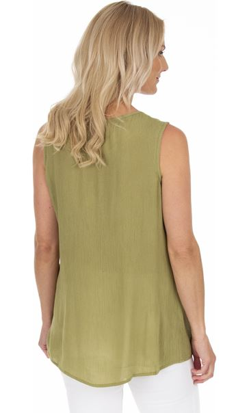 Embroidered Sleeveless Top Olive/Yellow - Gallery Image 2