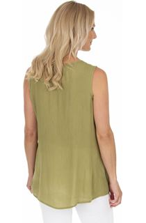 Embroidered Sleeveless Top - Olive/Yellow
