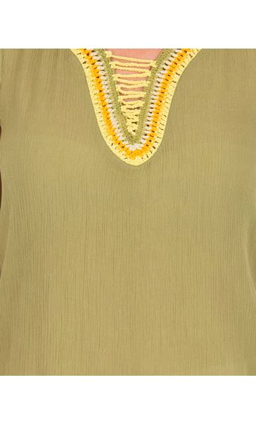 Embroidered Sleeveless Top Olive/Yellow - Gallery Image 3