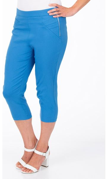 Slim Leg Cropped Trousers - Wedgewood Blue