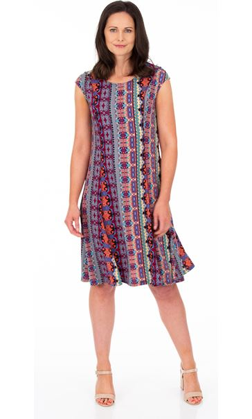 Panelled Printed Jersey Dress Blue/Pink