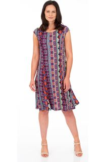 Panelled Printed Jersey Dress