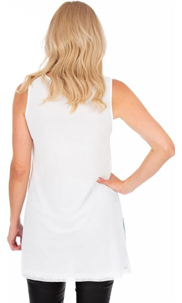 Mesh Layered Sleeveless Print Tunic White/Khaki - Gallery Image 2