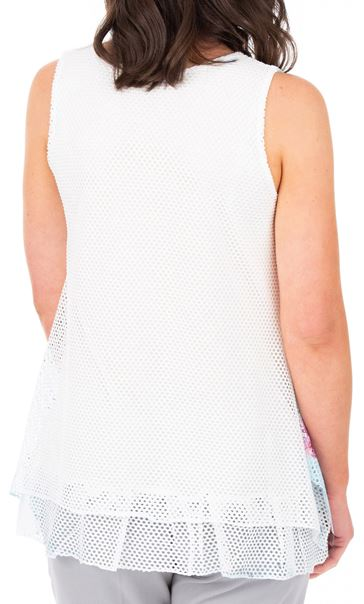 Anna Rose Printed Layered Top White/Multi - Gallery Image 2