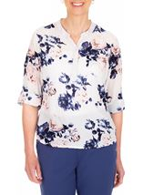 Anna Rose Floral Print Top White/Pink/Navy - Gallery Image 1