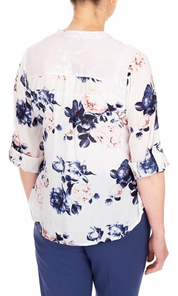 Anna Rose Floral Print Top White/Pink/Navy - Gallery Image 2