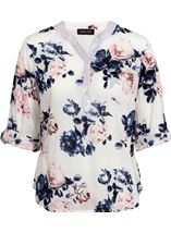 Anna Rose Floral Print Top White/Pink/Navy - Gallery Image 4
