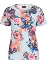 Anna Rose Bouquet Printed Textured Top Blue/Pink - Gallery Image 1