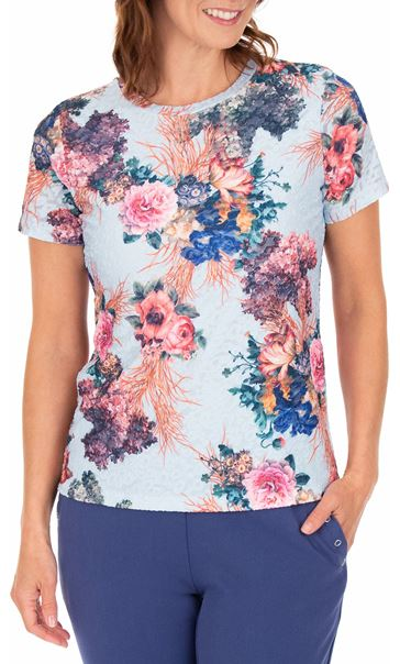 Anna Rose Bouquet Printed Textured Top Blue/Pink - Gallery Image 2
