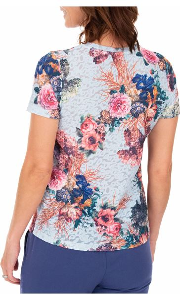 Anna Rose Bouquet Printed Textured Top Blue/Pink - Gallery Image 3