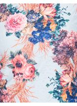 Anna Rose Bouquet Printed Textured Top Blue/Pink - Gallery Image 4