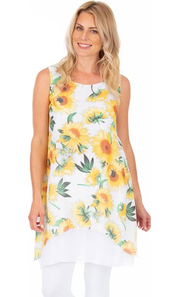 Sunflower Printed Layered Sleeveless Tunic White/Yellow